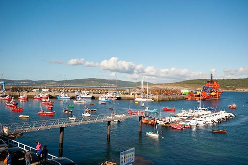 La playa y el puerto pesquero de Laxe