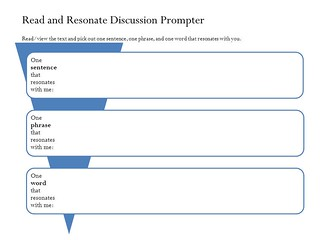 "Educational Resource:  ""Read and resonate discussion prompter"""