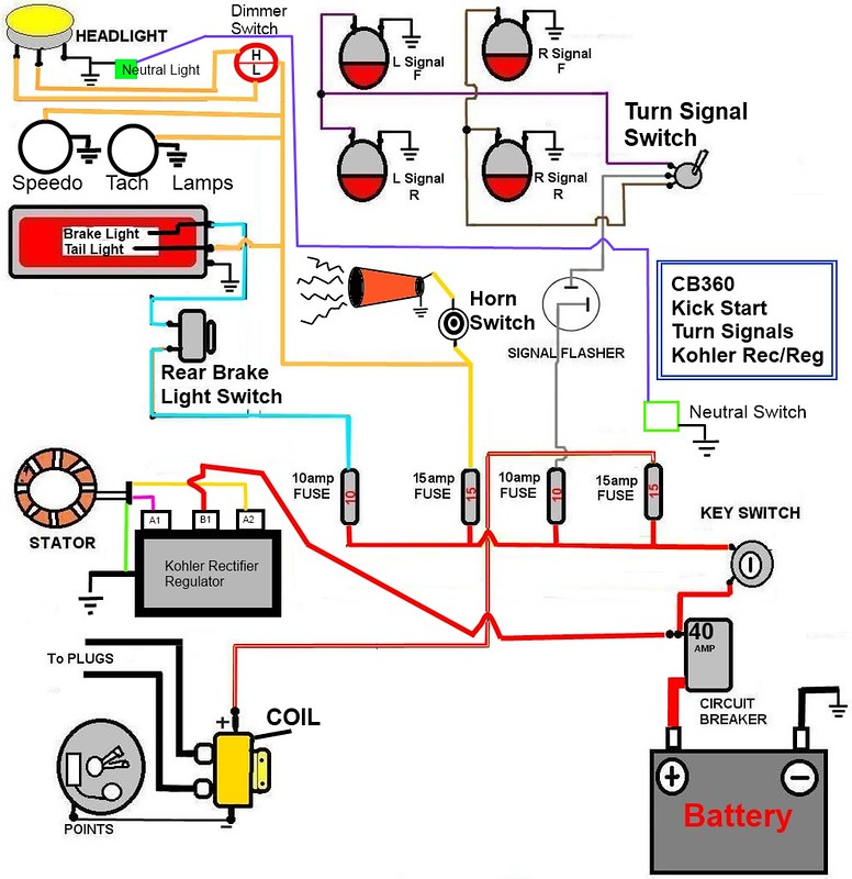 Cb360 Simplified Wiring Diagram W  Kick Start Only  Signals