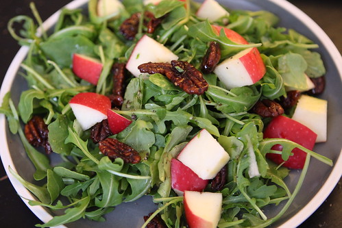 Apple and Spiced Pecan Salad with Pink Lady Apples, Arugula, and Honey Vinaigrette