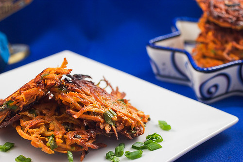 Sweet Potato and Scallion Latkes #latkeweek