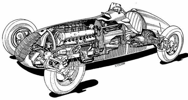 1938 Alfa-Romeo Tipo 158 cutaway