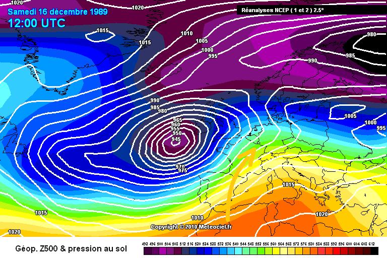 carte de situation des records de douceur et de chaleur du 16 décembre 1989 météopassion