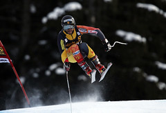 Conrad Pridy during World Cup downhill training in Val Gardena, Italy.