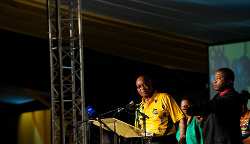 President Zuma addresses delegates at Manguang gathered for the African National Congress elective conference. Zuma sang and spoke to individual party members on December 16, 2012. by Pan-African News Wire File Photos