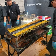 Malaysia fest in Trafalgar Square. Jimmy Choo is here and I am trying to resist stealing this entire BBQ of satay sticks and stuffing them all in my face. Delicious. #malaysia #London
