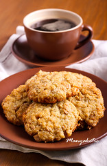 Coconut oat biscuits on plate