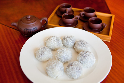 Homemade red adzuki bean coconut mochi