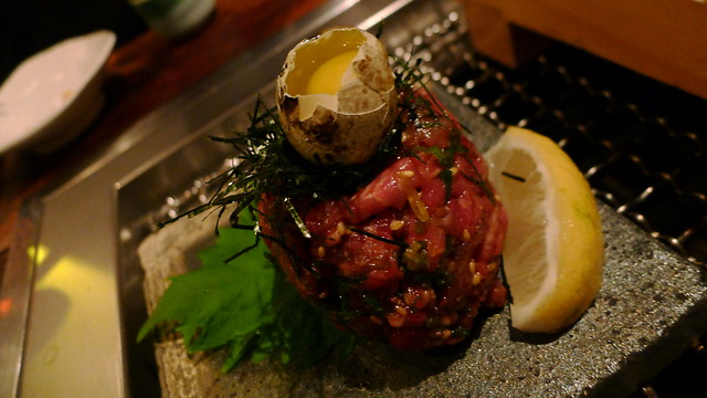 Yooke = thinly-sliced chuck eye tartare in special sauce
