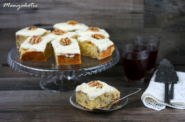 Pineapple and walnut cake with cream cheese frosting