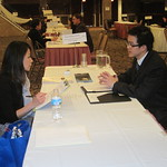 First Midwest Bank Recruiter Winnie Chiu interviewing IWU student Tung Hoang --