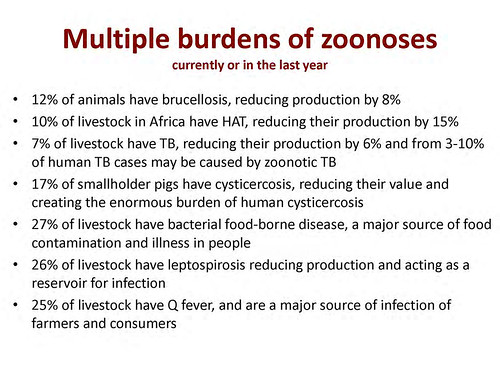 Multiple burdens of zoonoses calculated by ILRI's Delia Grace in 2012