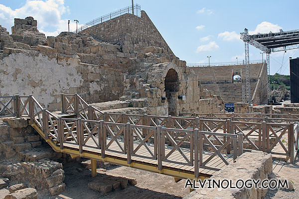 The ancient theatre is still being used a performances and concert venue in modern Israel