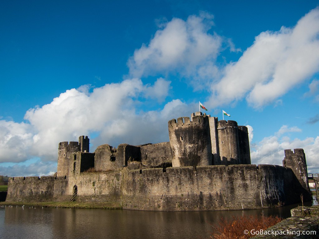 The Welsh flags fly above Caerphilly Castle, on what turned out to be a beautiful day