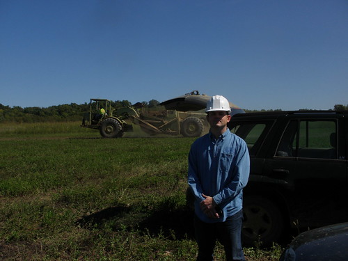 Captain Mike P. McAdaragh II pictured on one of the construction sites where he volunteers to assist with the Wetland Reserve Program.