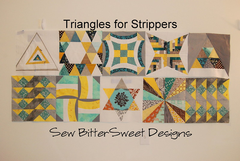 Rows 1 & 2 of the Triangles for Strippers quilt