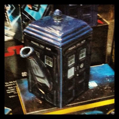 Why is there a Tardis bong in the window of @GalaxyBookshop? Oh, it's a tea pot