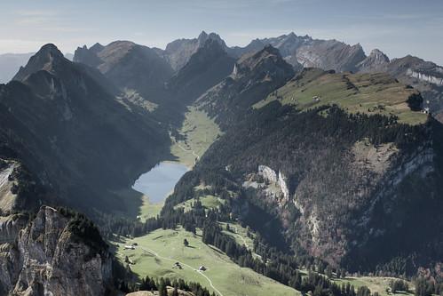 panorama mountain lake mountains canon eos schweiz switzerland see view autum herbst berge kasten gebirge säntis alpstein moning herbstlich 50d hoher sämtisersee markusmoning sämtiser