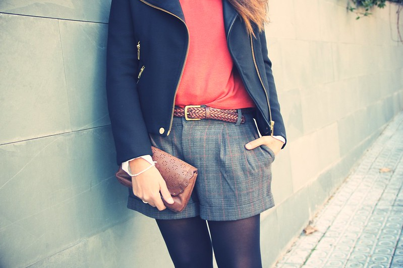 Look short cuadros + botines oxford