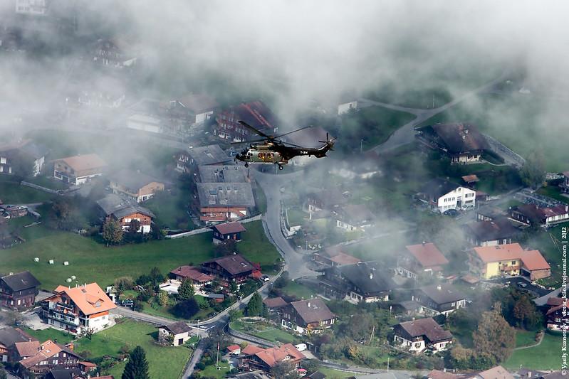 Swiss AF Aerospatiale AS 332 Super Puma over Brienz