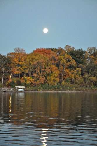 Fall Full Moon over the Lake