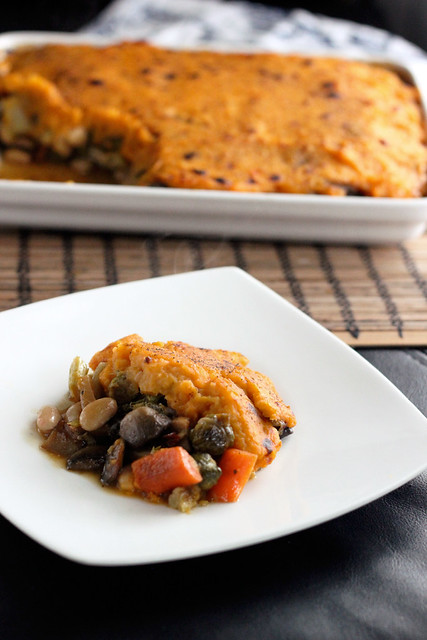 Roasted Veggie Shepherd's Pie with Sweet Potato Topping - Vegan + Gluten-free