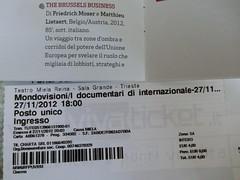 il biglietto per il primko documentario di Internazionale