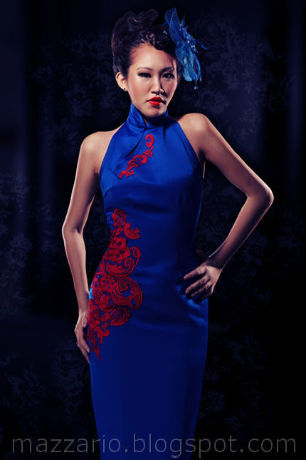 blue lace applique cheongsam