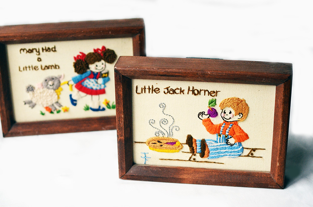 Vintage Crewel Embroidery Children's Nursery Rhymes'