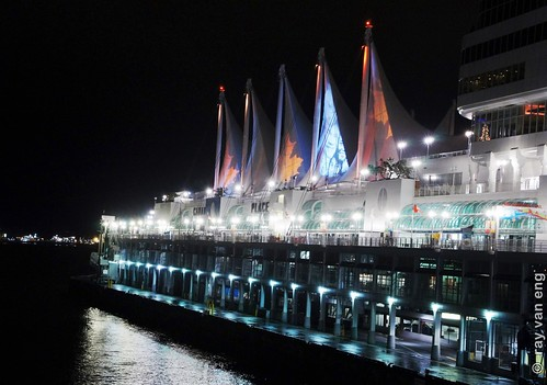 Sails of Light 2012 Christmas at Canada Place Light Show on Teflon Canvas at the Five Sails in Vancouver