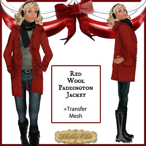 Shabby Chic Red Wool Paddington Jacket by Shabby Chics