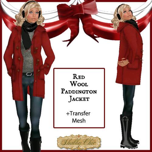 Shabby Chic Red Wool Paddington Jacket by Shabby Chics