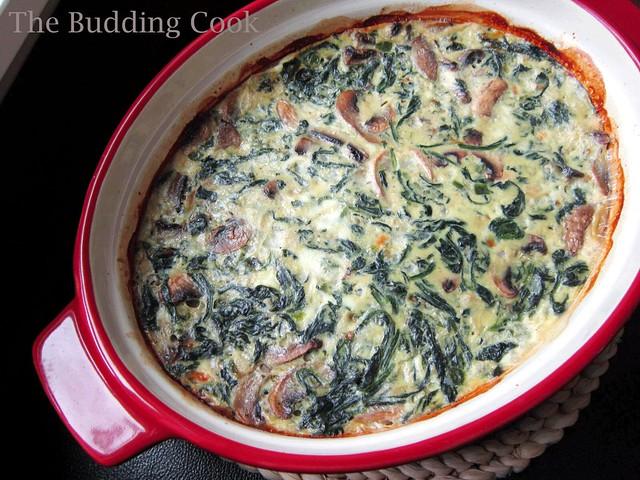 Spinach, mushroom & egg casserole1