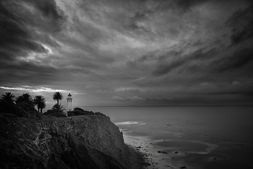 california longexposure bw usa lighthouse seascape storm water clouds sunrise coast pacific 2012 palosverdes