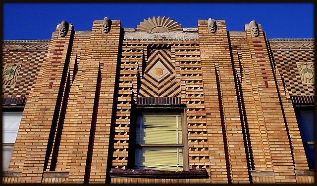Art Deco Brickwork, Sunburst and Stone Faces, East Jefferson and Chalmers--Detroit MI