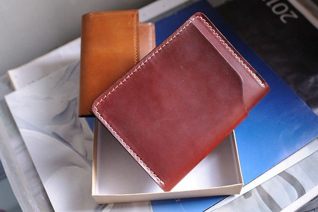 "Color #2 Shell Cordovan Fat Herbie Wallet and Whiskey Louis ""Little New York"" Shell Cordovan Front Pocket Wallet"
