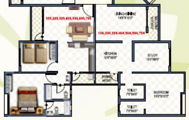 "2 BHK Flat - 23.44 to 27.23 Lakhs - 574.9 Carpet (including balcony) - Living cum Dining - 14'6"" x 10' + Kitchen - 10'6"" x 8'6"" + Bedroom - 10' x 12' + Study - 10' x 8'6""  - Namrata Eco City, 1 BHK & 2 BHK Economical Flats, Varale Road, Talegaon, Pune"