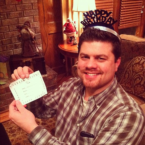 Bunco Queen...errr, King. (No its not his birthday...that's our Bunco crown)