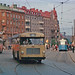 Buses and tram at Odenplan in Stockholm 1962 by Stockholm Transport Museum Commons