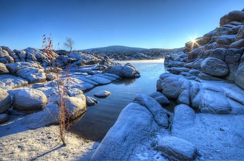 winter arizona snow sunrise az flare granite sunburst prescott watsonlake michaelwilson michaelwilsoncom