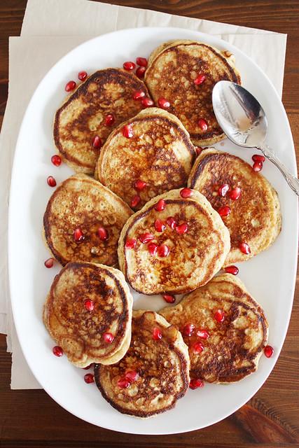 lemon-ricotta pancakes + pomegranate syrup.