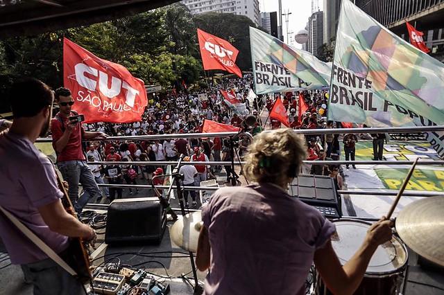 Manifestação na Avenida Paulista foi convocada pelas FrentesBrasil Popular e Povo sem Medo.  - Créditos: Mídia Ninja
