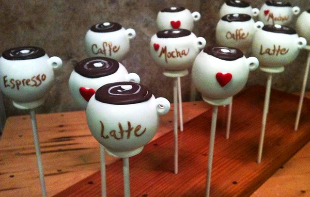 Coffee cup cake pops
