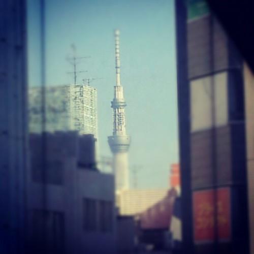 鈴本演芸場の窓から見えるスカイツリー