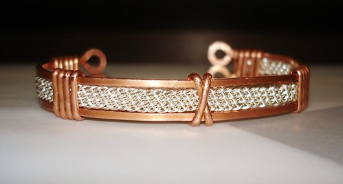 Copper and silver plate cuff by liquidsabre23