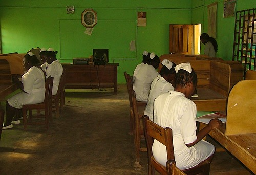 Student midwives studying in the library at the St Louis School of Midwifery, Zonkwa, Kaduna State, Nigeria