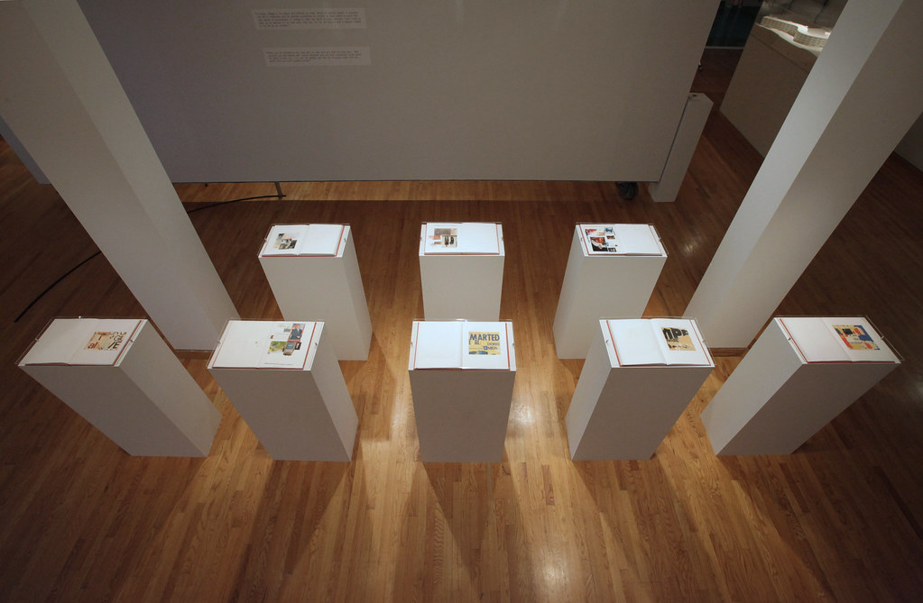Pedestals were used to display examples of Meier's collage books.