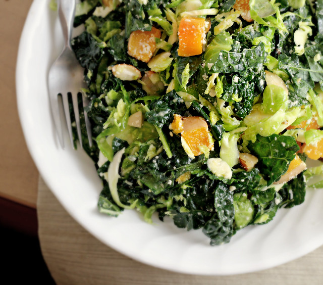 Kale and Brussels Sprout Salad with Butternut Squash   for