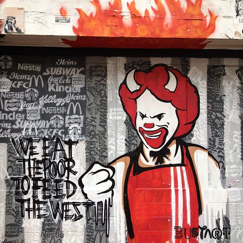 Amsterdam #streetart, Ronald McDonald as the devil, maybe on fire for the #fiscalcliff