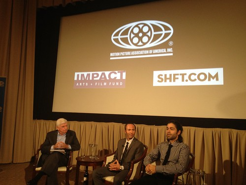 Senator Chris Dodd, Chairman & CEO MPAA with SHFT Co-Founders Actor Adrian Grenier and Film Producer Peter Glatzer